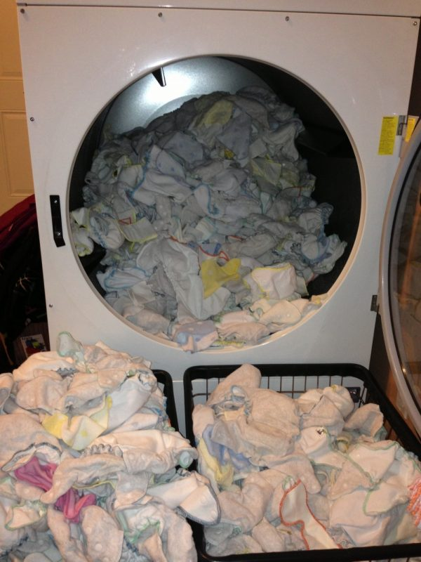 Dryer Filled With Diapers